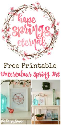 Free Printable Watercolour Spring Art Cherry Blossom Wreath Hope Springs Eternal at thehappyhousie.com