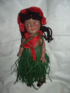 "Shirley Temple 1937 13"" Ideal Marama Hawaiian Composition Doll 6 