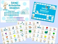 Crazy Speech World: Eskimo Articulation FREEBIE for /r, s, l/, includes words & pictures!