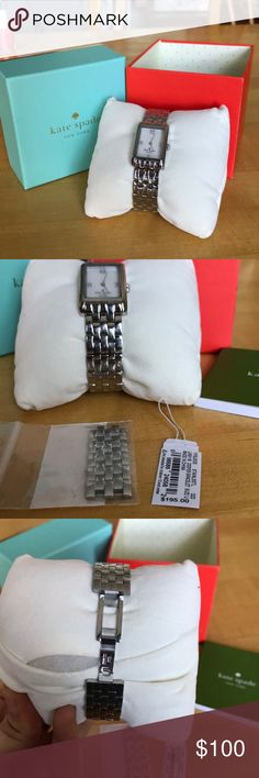 Kate Spade Chain Link Watch Stainless steel chain link authentic Kate Spade watch. Original packaging and manual included. extra links included that can be added to the watch to make it bigger. Battery doesn't work so discounting price from $150 to $140z kate spade Accessories Watches