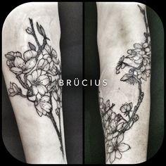 #BRÜCIUS #TATTOO #SF #SanFrancisco #brucius #natural #science #engraving #etching #sculptoroflines #dotwork #blackwork #penandink #lines #cherry #blossoms #flowers #sweetHeather