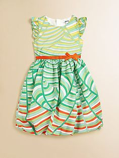 I like the bubble bottom, maybe striped or chevron with a solid top.without those ruffles on the sleeves Pretty Outfits, Beautiful Outfits, Toddler Outfits, Kids Outfits, Baby Girl Wishes, Grace Clothing, Toddler Fashionista, Girls Dress Up, Stripe Dress