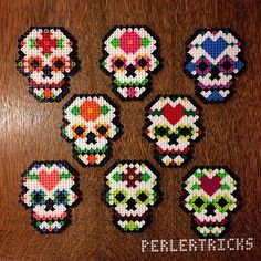 Sugar Skulls original perler design by perlertricks