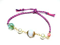 Braided Friendship Bracelets - faux pearl crystals