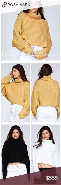 Crop Sweater Turtle neck crop sweater. A must have wardrobe staple. 100% Super soft acrylic. Available colors: Camel, Black, and White. Size S/M and M/L. ✴️Fair Offers Considered✴️ Sweaters Cowl & Turtlenecks