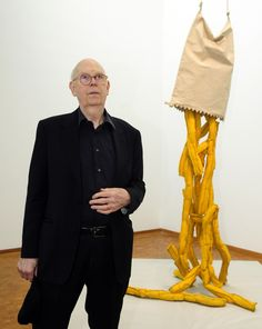 "Claes Oldenburg in front of his sculpture ""Shoestring Potatoes"" at  Art Cologne 2013"