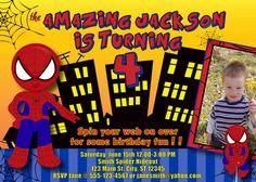 Spider Man Superhero Birthday Invitation with picture MellysHandmades on Etsy