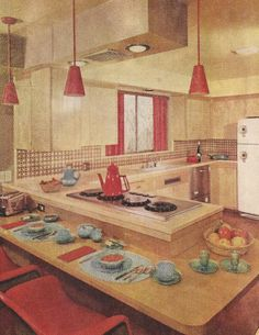 1950s Vintage Kitchens, Mid Century --- I don't care how out of date this looks, I'd LOVE to have this kitchen