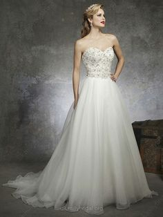 A-line Sweetheart Organza Satin Chapel Train Ivory Beading Wedding Dresses -GBP£189.00