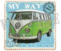Leuke postzegel applicatie van een retro volkswagen Samba bus