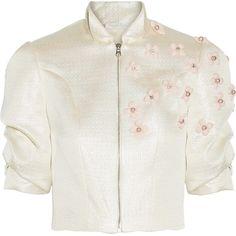 Reem Acra Cropped embellished metallic woven jacket ($1,975) ❤ liked on Polyvore featuring outerwear, jackets, white zip jacket, white zipper jacket, metallic jacket, slim jacket and layered jacket