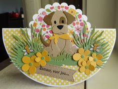 Scrapcard girls: Just for you . Fun Fold Cards, Folded Cards, Cute Cards, Dog Cards, Kids Cards, Marianne Design Cards, Spellbinders Cards, Making Greeting Cards, Shaped Cards