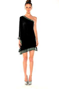 Parides Official Website, Parides One Shoulder Column Dress in Black