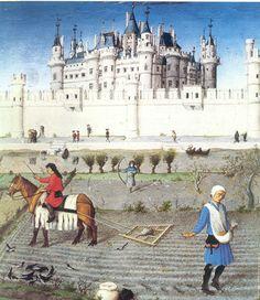 Castillo del Louvre en el libro de las Horas del Duque de Berry (mes de Octubre) -Arquitectura cortesana.