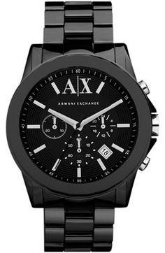 Black Ceramic Chronograph Watch - Watches - Accessories - Armani Exchange