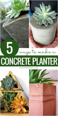 5 Different Ways To Make A DIY Concrete Planter | Learn how to make your own easy DIY concrete planter -- not just one way, but 5 different ways! Get the DIY tutorials at Remodelaholic.com