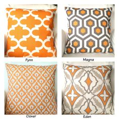Orange Gray Pillow Covers, Decorative Throw Pillows, Cushion Covers, Orange Tan Grey Cream, Euro Sham - One or More Mix & Match ALL SIZES