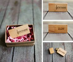 Really cute small cardboard packaging with pink confetti. Matches our wooden flash drives perfectly.