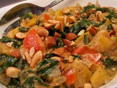 Creamy Pepper, Tomato & Spinach With Peanut Butter from Food.com:   Pepper, tomato and spinach flavored with peanuts! This is an African dish!
