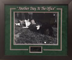 """Arnold Palmer """"Another Day At The Office"""" Engraved Autograph Replica - Resting at Golf Course - UV Protectant Glass - Overall Framed Size 19x23 - $99 FREE SHIPPING ON ALL ORDERS  #ArnoldPalmer #Palmer #golf #PGA #Masters #APInv #Masters #iconmemorabilia #iconsandlegendsmemorabilia #framedart #memorabilia #sportsmemorabilia #golfmemorabilia #freeshipping"""