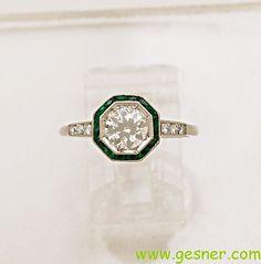 0.75ct. Diamond Emerald & Platinum Art Deco by GesnerEstateJewelry, $6070.00