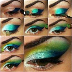 Peacock makeup - great party make up looks Makeup For Green Eyes, Love Makeup, Beauty Makeup, Makeup Looks, Hair Makeup, Yellow Makeup, Hair Beauty, Eyeshadow Tips, How To Apply Eyeshadow