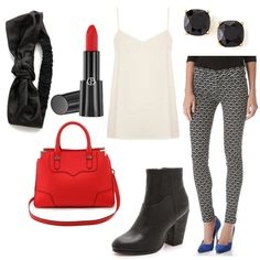 Slick urban look for the Black & White & Red All Over fashion mission, styled by Brianna Urban Looks, Edgy Chic, Black White Red, Fashion Forward, Couture, Outfits, Style, In Trend, Tall Clothing
