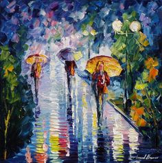 """Into the rain"" by Leonid Afremov ___________________________ Click on the image to buy this painting ___________________________ #art #painting #afremov #wallart #walldecor #fineart #beautiful #homedecor #design"