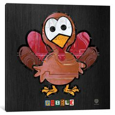 """The Holiday Aisle Recycled License Plate Animal Sound Series Gobble Wall Art on Wrapped Canvas Size: 37"""" H x 37"""" W x 0.75"""" D"""
