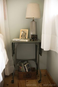 Vintage metal typing stand turned nightstand. $ 1.50