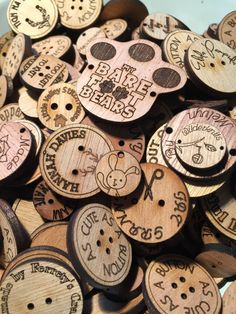 "Custom Laser Cut Wooden Buttons personalised tags Geocache lables 1"" 25mm 3mm…"