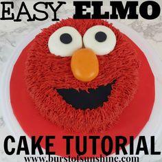 elmo cake tutorial – Burst of Sunshine Elmo Smash Cake, Elmo Cupcakes, Elmo Cookies, Sesame Street Cake, Sesame Street Birthday, Foto Pastel, Elmo Party, Mickey Party, Dinosaur Party