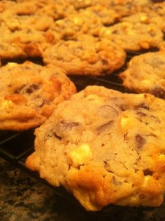 Soft and a bit chewy, S'more Cookies fresh from the oven.
