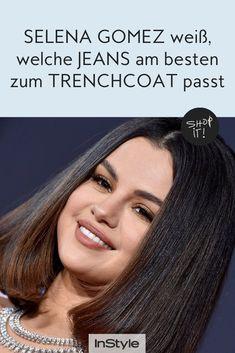 Welche Jeans 2021 am besten zum Trenchcoat aussieht? Das zeigt Selena Gomez mit ihrem neusten Modetrend. So gelingt dir der Look. #instyle #instylegermany #jeans #denim #wideleg #trenchcoat #selenagomez