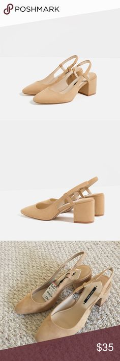 🎉Host Pick🎉NWT ZARA BLOCK HEEL SLINGBACKS SHOES Brand new with tags, never worn. Sold out online! Zara Shoes Heels