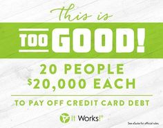 How would you like to erase your debt by having a shot at a $10,000 bonus and be 1 of 20 people to receive up to $20,000 for your credit card bills, student loans and/or medical bills? Comment below and I can tell you how! #startswithone #debtfreet #itworks  mompreneurwraps@gmail.com