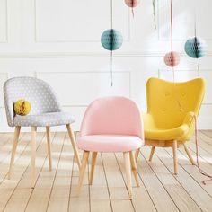 Roze stoffen en massief berkenhouten vintage stoel voor kinderen Mauricette | Maisons du Monde