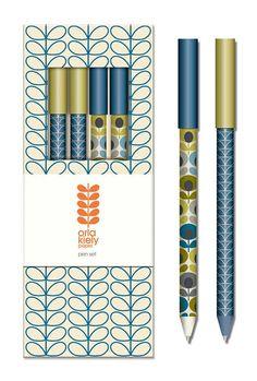 Orla Kiely Linear Stem Marine Pen Set