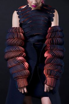 Experimental fashion design with sculptural sleeves using bright waves of fabric; 3D fashion; wearable art // Katherine Roberts-Wood