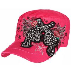 $6.50 Hot Pink Bling Guns with Angel Wings Distressed Cadet Cap