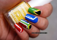 Inspired by a flag: Collab South African Flag, Flag Nails, Nail Arts, Pretty Nails, Nail Ideas, Nail Art Designs, Countries, Swag, Rainbow