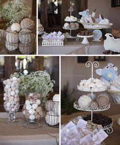 Vintage Lamb Themed Neutral Baby Shower | Jennifer Jones Photography | Gender Neutral | Rustic | cream | burlap | baby shower | vintage | antique