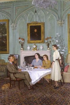 'Conversation Piece at the Royal Lodge, Windsor' (1950) by Sir Herbert James Gunn, R.A. (1893-1964) Scottish by birth & training, Gunn studied at the Glasgow School of Art & the Edinburgh College of Art. He was to develop a style very much his own & to move effortlessly between the artistic milieus of London and Paris. He was the society portrait painter of the Establishment, becoming President of the Royal Society of Portrait Painters in 1953 & exhibited at the Royal Academy & Paris Salon.