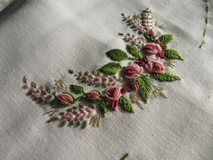 What if this is done on the scallopings of a Sari or a Dress ot Skirt? Bullion Embroidery, Brazilian Embroidery Stitches, Diy Embroidery Patterns, Embroidery Stitches Tutorial, Wool Embroidery, Embroidery Works, Flower Embroidery Designs, Silk Ribbon Embroidery, Embroidery Techniques