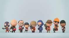Geek Art: Tiny Team Fortress 2 - News - char character Simple Character, Game Character Design, 3d Character, Character Concept, Game Design, Cultura Pop, Low Poly, Cute Characters, Cartoon Characters