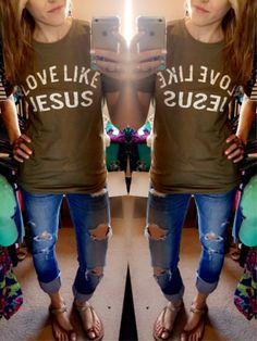 Love Like Jesus Tee - Light Olive – Pistols & Pearls Boutique