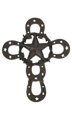 M&F Western Products Metal Horseshoe & Star Wall Cross | Cavender's