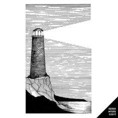 (Day 1172) Lighthouse. ▪️ ▪️ ▪️ #art #artist #drawing #dailydrawings #illustration #ink #inkdrawing #landscape #geometry #iblackwork #pen #penandink #sketchbook #blackwork #alvindrafting #twitchcreative #twitch #sakuramicron #micron