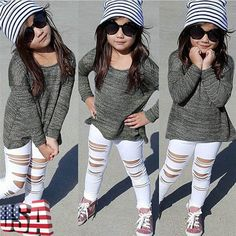 Toddler Kids Baby Girls Long T-Shirt Tops Sweater+Hole Denim Pants Outfits Suit