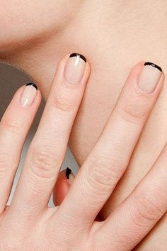 Black French-Tip Nails.